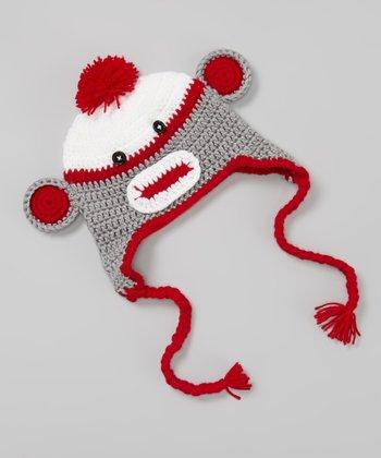 Red & Gray Monkey Crocheted Earflap Beanie