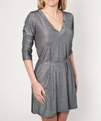 Sage & Silver Sparkle T-Shirt Dress