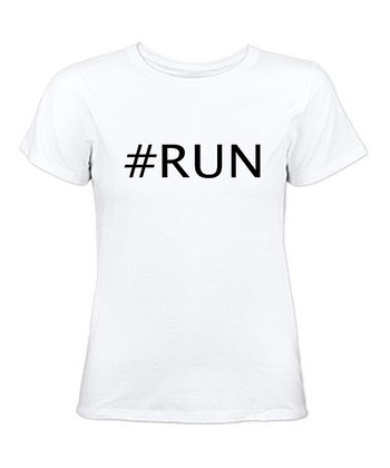 White '#RUN' Tee - Women