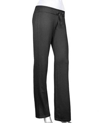 Black Raw Edge Yoga Pants - Women