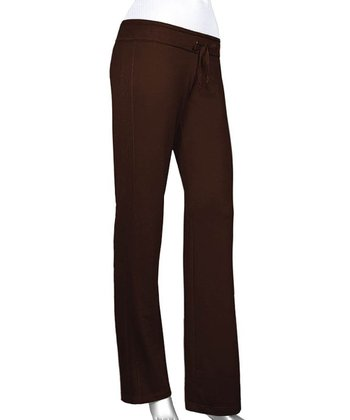 Chocolate Raw Edge Yoga Pants - Women