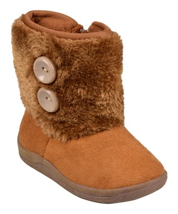 Chestnut Faux Fur Button Boot
