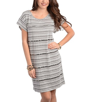 Ivory & Charcoal Stripe Shift Dress