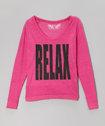 Bright Pink 'Relax' V-Neck Raglan Top
