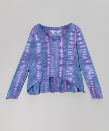 Purple & Blue Tie-Dye Hi-Low Top