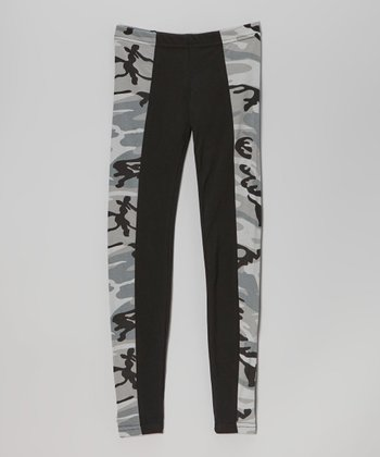 Gray & Black Camo Leggings