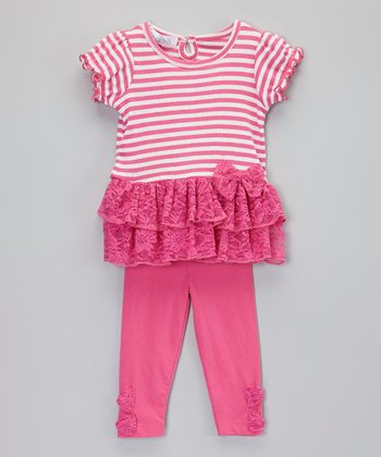 Pink Stripe Tutu Tunic & Leggings - Infant & Toddler