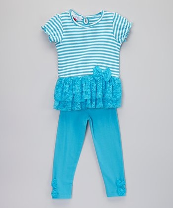 Blue Stripe Tutu Tunic & Leggings - Infant & Toddler