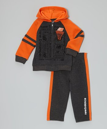 Charcoal & Orange Zip-Up Hoodie & Sweatpants - Infant