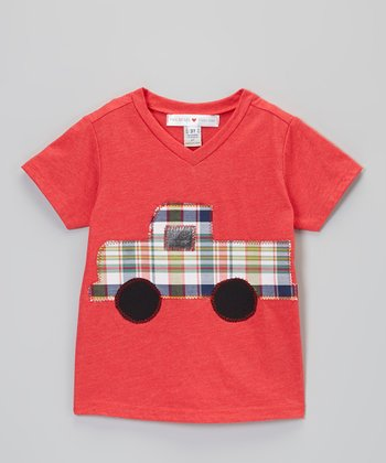 Red Plaid Truck V-Neck Tee - Infant, Toddler & Boys