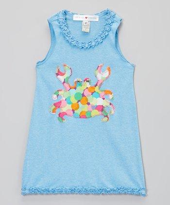 Light Blue Crab Tank Dress - Infant, Toddler & Girls
