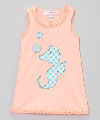 Coral & Aqua Sea Horse Tank Dress - Infant, Toddler & Girls
