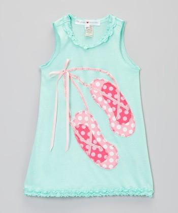 Pink & Pink Ballet Slippers Ruffle Dress- Infant, Toddler & Girls