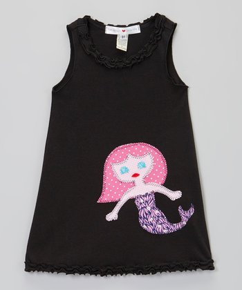 Black & Pink Mermaid Tank Dress - Infant, Toddler & Girls
