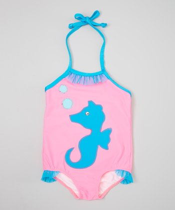 Hot Pink & Turquoise Seahorse One-Piece - Infant, Toddler & Girls