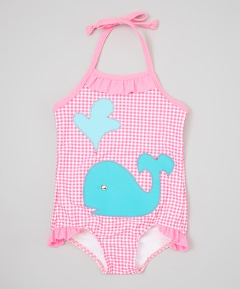 Pink & Light Blue Whale One-Piece - Infant, Toddler & Girls