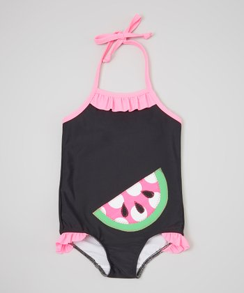 Black & Hot Pink Watermelon One-Piece - Infant, Toddler & Girls