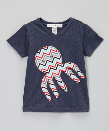 Blue Zigzag Octopus V-Neck Tee - Infant, Toddler & Boys