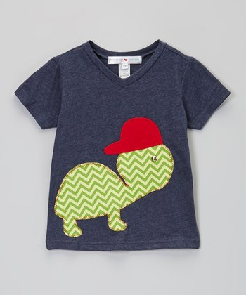 Blue & Green Turtle V-Neck Tee - Infant, Toddler & Boys