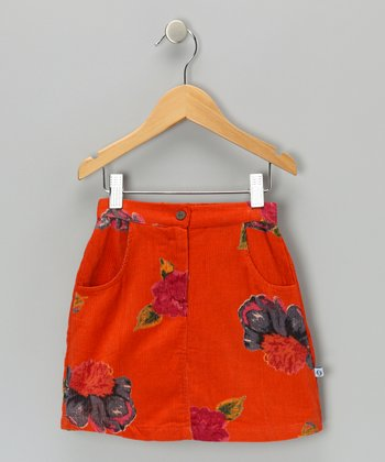 Orange Peony Corduroy Pencil Skirt - Toddler & Girls