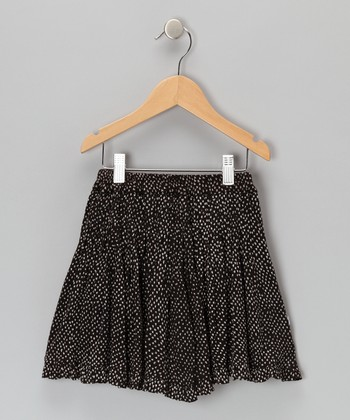 Black Chicken Feet Pleated Skirt - Toddler & Girls