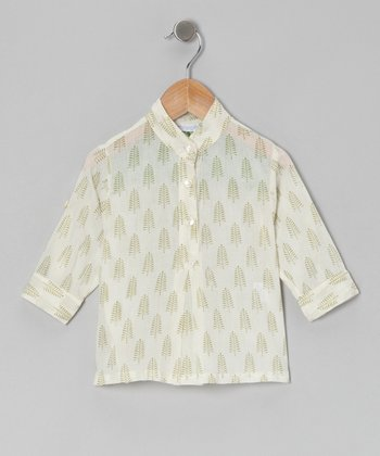 Palm Green Grandad Button-Up - Infant & Kids