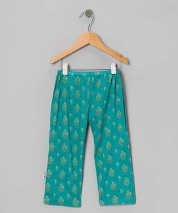 Chanderi Turquoise Epaulet Pants - Infant