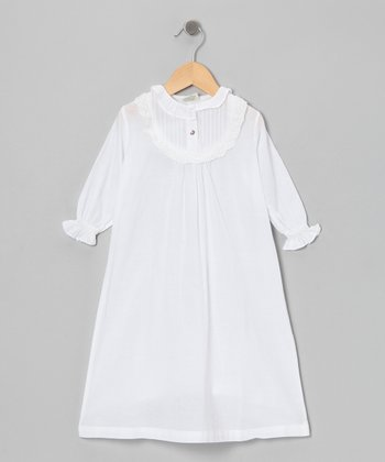 White Granny Ruffle Dress - Toddler & Girls