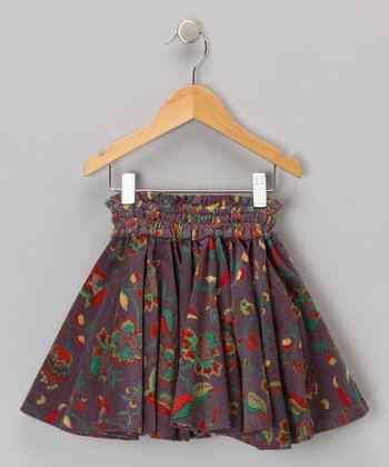 Java Gray Floral Corduroy Skirt - Girls