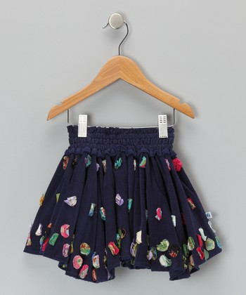 Navy Circle Floweret Corduroy Skirt - Infant, Toddler & Girls