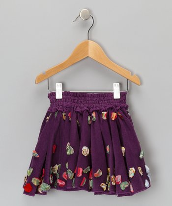 Purple Circle Floweret Corduroy Skirt - Toddler