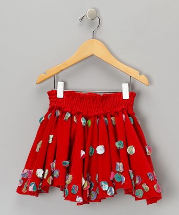Red Circle Floweret Corduroy Skirt - Toddler
