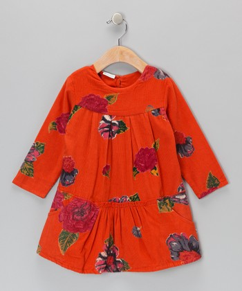 Orange Peony Corduroy Dress - Infant, Toddler & Girls