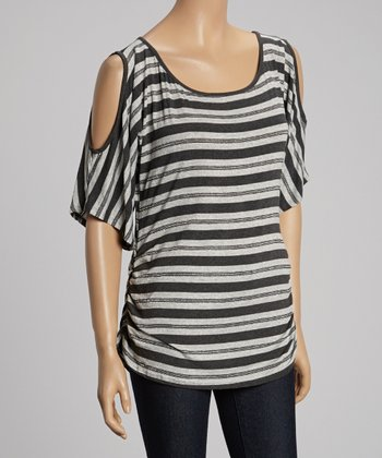 Gray & Charcoal Stripe Cutout Top
