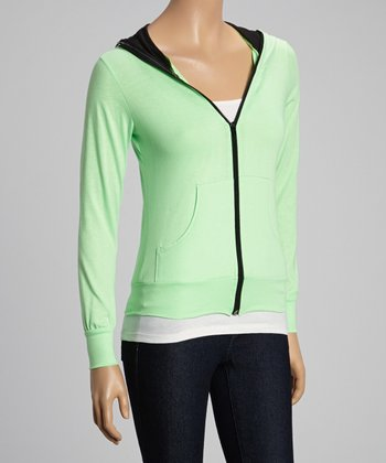 Green Zip-Up Hoodie - Women