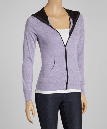 Heather Lavender Zip-Up Hoodie