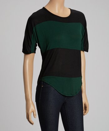 Green & Green Stripe Scoop Neck Tee - Women