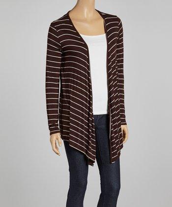 Brown Stripe Open Cardigan
