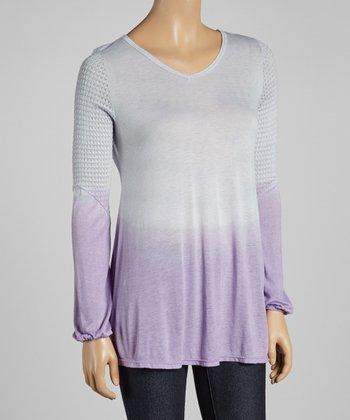 Gray & Purple Ombré V-Neck Top