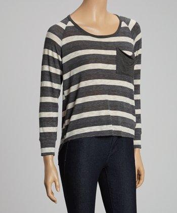 Gray Stripe Hi-Low Top