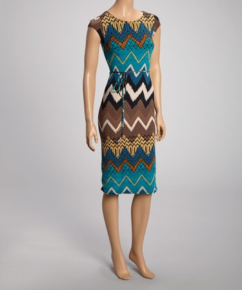 Blue Zigzag Cap-Sleeve Dress