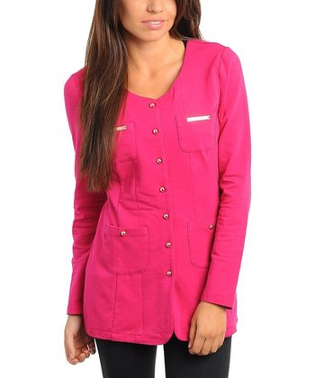Fuchsia Scoop Neck Button-Up Blazer