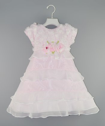 Pink Rosette Wisp Dress - Toddler & Girls