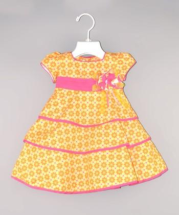 Orange & Pink Flower Babydoll Dress - Infant & Toddler