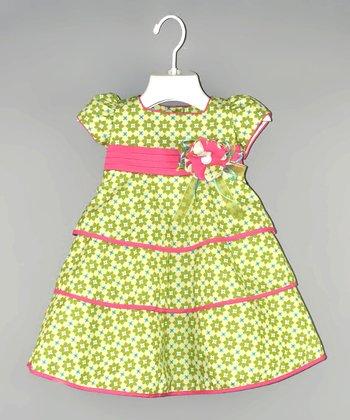 Lime & Pink Flower Babydoll Dress - Infant & Toddler