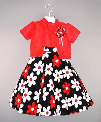 Red & Black Flower Dress & Shrug - Toddler & Girls