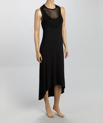 Black Mesh Hi-Low Cover-Up - Women