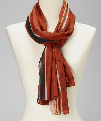 Rust & Brown Polka Dot Silk-Linen Blend Scarf