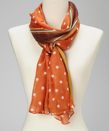 Orange & White Polka Dot Silk-Linen Blend Scarf