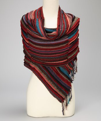 Red & Blue Stripe Wool-Cashmere Blend Scarf